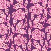 Vector seamless background with floral branches. Intricate ornament made of Stock Illustration