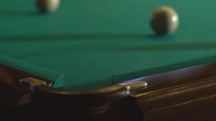 Billiard balls near pocket Stock Footage