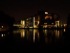 European Parliament faacde reflection night Stock Footage