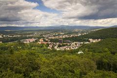 Aerial view of spa town Karlovy Vary in Czech republic Stock Photos
