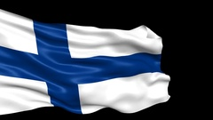Finland flag looped with alpha channel Stock Footage