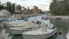 4K Marina Sea waterway canal Piraeus harbour harbor Athens Athina Greece Europe Stock Footage