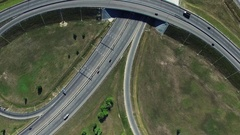 Aerial view of Highway Road Interchange in Russia Stock Footage
