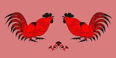 Fighting of roosters on a red background Stock Illustration