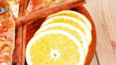 Baked food : apple pie cuts and lemon Stock Footage