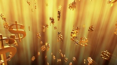 Flying dollar signs in golden color Stock Footage