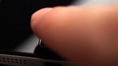 Fingerprint security screen unlocking on a smartphone Stock Footage