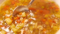 Fresh chicken soup. 4K UHD Stock Footage