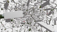 Flying usb flash drives in white Stock Footage