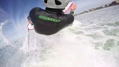 POV 360 swivel of a surfer riding a wave while surfing, slow motion. Stock Footage