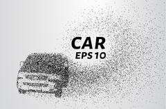 Car from the particles. The car consists of circles and points. Vector illu.. Stock Illustration