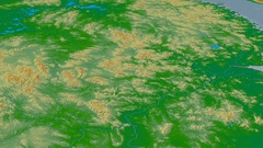 Revolution around Nan Ling mountain range - masks. Colored physical map Stock Footage