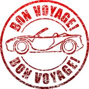 Bon voyage red grunge style rubber stamp with car, cabriolet. Stock Illustration
