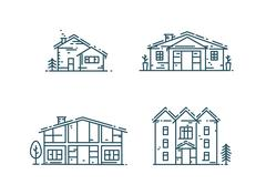 Line houses icon set Stock Illustration