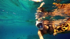 Young sexy woman selfie with sea turtle in Maldives Stock Footage