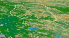 Glide over Nan Ling mountain range - glowed. Colored physical map Stock Footage