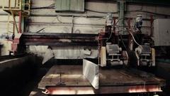 Cutting block with circular machine Stock Footage