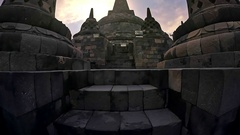 Famous Buddhist landmark in Java Indonesia Borobudur temple ancient architecture Stock Footage