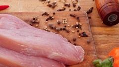 Raw turkey meat steak with hot sweet pepper Stock Footage