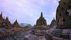 Famous Buddhist landmark in Java Indonesia Borobudur temple ancient architecture Stock Footage
