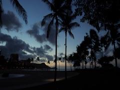 Waikiki beach Honolulu Hawaii morning dawn before sunrise Stock Footage