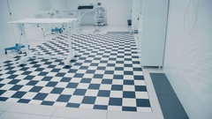 Modern Veterinary Clinic. Tiled black and white floor Stock Footage