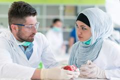 Arab students with hijab while working on the denture, false teeth. Stock Photos