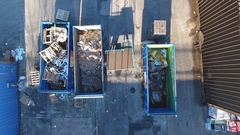 Aerial reveal of recyling bins. Stock Footage