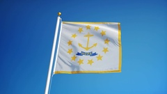 Rhode Island (U.S. state) flag in slow motion seamlessly looped with alpha Stock Footage
