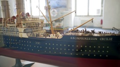 Steam engine ship model on display Stock Footage