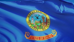 Idaho (U.S. state) flag in slow motion seamlessly looped with alpha Stock Footage
