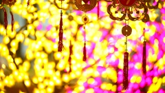 Lucky charm items in red and gold are for sale before lunar new year Stock Footage