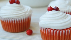 Cranberry cupcakes with butter cream Stock Footage