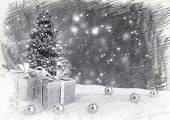 Christmas tree and gifts in snow on bokeh retro background. 3D illustration Stock Illustration