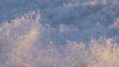Detail of the whitewash as waves break in the surf. Stock Footage