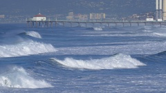 The Manhattan Beach Pier stands majestic over the Pacific Ocean, time-lapse. Stock Footage
