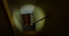 Burglar Inside a Home at Night with a Flashlight Stock Footage