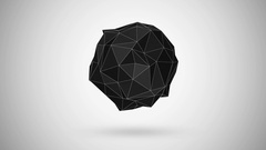 Animation of Abstract Black Fractal Geometric, Polygonal or Lowpoly Style Sphere Stock Footage