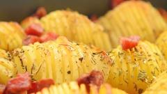 Crispy potato roast with bacon Stock Footage