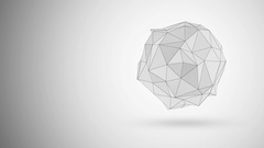 Animation of Abstract White Fractal Geometric, Polygonal or Lowpoly Style Sphere Stock Footage