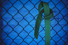 Karate green belt hanging on wire mesh fence Stock Photos