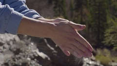 Young Woman Rubs Hands Together With Climbing Chalk, Claps Them/Gets Excess Off Stock Footage