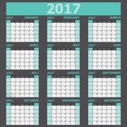 Calendar 2017 week starts on Sunday (green tone) Stock Illustration