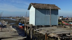 Old wooden fishing dock - carrasqueira portugal Stock Footage