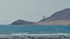 Kite Surfing in Atlantic Ocean, Extreme summer sport. Canary Islands. Stock Footage