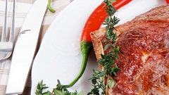Savory : roasted beef spare rib on white dish with pepper  Stock Footage