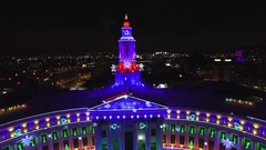 4k Aerial Drone footage of Chrismas holiday lights.  City of Denver, Colorado Stock Footage