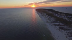 4k Drone Aerial footage of ocean sunset over Gulf Shores / Fort Morgan.  Alabama Stock Footage