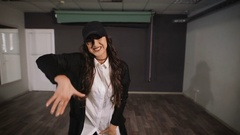 Dancer joined the creative image and dancing an aggressive dance in the dance Stock Footage