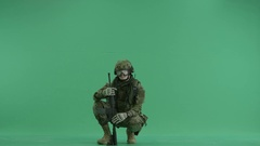 Serviceman showing gesture peace at green screen Stock Footage